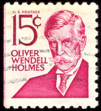 united states postal service: UNITED STATES - CIRCA 1965: stamp printed in United states (USA), image of portrait Oliver Wendell Holmes, with the same inscription, from the series Famous Americans, circa 1965