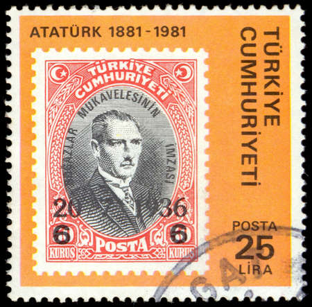 mustafa: Turkey - CIRCA 1981: A stamp printed in Turkey shows image of Stamp-on-Stamp of Mustafa Kemal Ataturk, circa 1981 Editorial