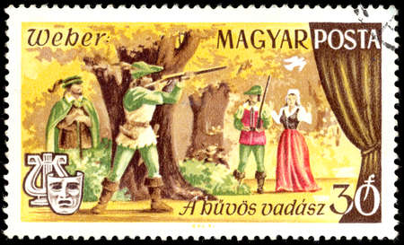 weber: HUNGARY - CIRCA 1967: stamp printed in Hungary (Magyar) shows hunting scene from Freischutz - marksman - german opera by Karl Maria von Weber from opera series, Scott catalog 1849 A396 30f, circa 1967 Editorial