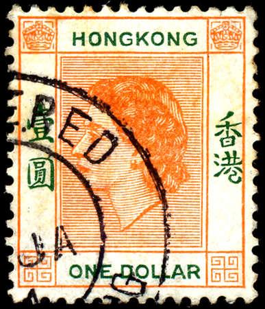 queen elizabeth ii: HONG KONG - CIRCA 1954: colorful postage stamp printed in Hong Kong with image of Queen Elizabeth II head. Editorial
