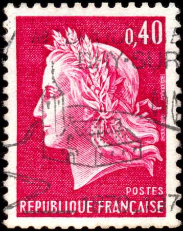 stempeln: FRANCE - CIRCA 1969: A stamp printed in France shows Marianne, type Cheffer, circa 1969.