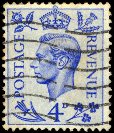 vi: GREAT BRITAIN - CIRCA 1938: A stamp printed in Great Britain shows portrait King of the United Kingdom of George VI (Albert Frederick Arthur George 1895-1952), series, circa 1938