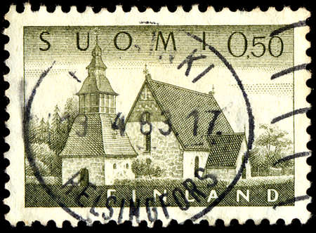 lutheran: FINLAND - CIRCA 1985: A stamp printed in Finland features building exterior of finnish Lutheran Church, circa 1985 Editorial