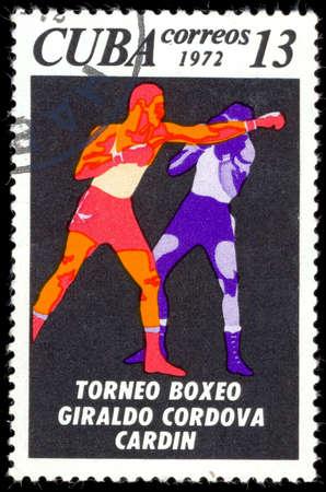 old envelope: CUBA - CIRCA 1972: A Stamp printed by CUBA, shows Giraldo Cordova Cardin boxing tournament, boxer in ring, circa 1972 Editorial