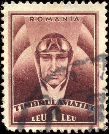 philately: ROMANIA - CIRCA 1932: A stamp printed in Romania shows pilot, with inscription Timbrul Aviatiei, from the series Foundation for Aviation, circa 1932
