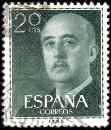 estampilla: SPAIN - CIRCA 1955: A stamp printed in Spain shows Francisco Franco, circa 1955