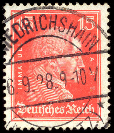 immanuel: GERMANY - CIRCA 1926: A stamp printed in Germany shows Immanuel Kant, philosopher, circa 1926