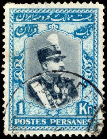 shah: IRAN - CIRCA 1929: Stamp printed in Iran showing the portrait of the Iranian Shah, Reza Shah Pahlavi, circa 1929.