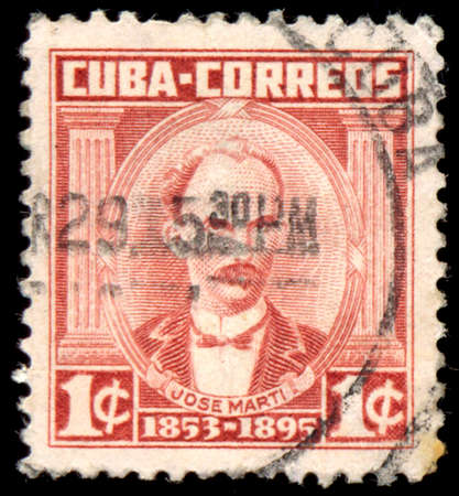 theorist: CUBA - CIRCA 1961: a stamp printed in the Cuba shows Jose Marti, Poet, Journalist, Political Theorist, Revolutionary, Hero of the War of Independence, circa 1961