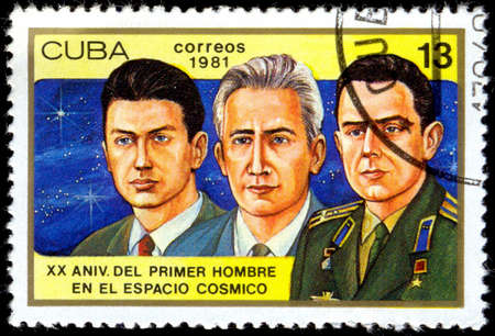 konstantin: CUBA - CIRCA 1981: a stamp printed in the Cuba shows Konstantin Feoktistov, Boris Yegorov and Vladimir Komarev, Voskhod 1 Crew, 20th Anniversary of 1st Man in Space, circa 1981 Editorial