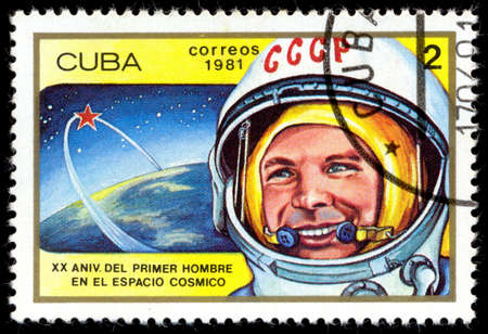 yuri: CUBA - CIRCA 1981: a stamp printed in Cuba, shows a portrait of the first cosmonaut Yuri Gagarin, CIRCA 1981 Editorial