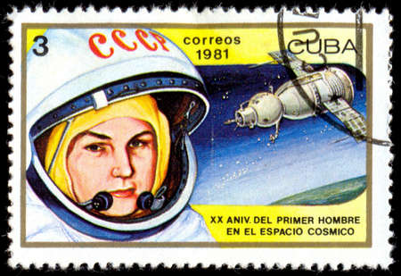 valentina: CUBA - CIRCA 1981: a postage stamp printed in Cuba showing an image of woman astronaut Valentina Tereshkova, circa 1981. Editorial