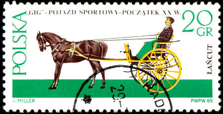 sprung: POLAND - CIRCA 1965: Postage stamp printed in Poland, shows Gig (carriage), a light, two-wheeled sprung cart pulled by one horse, circa 1965
