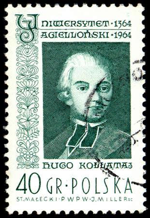 publicist: POLAND - CIRCA 1964: A stamp is printed in Poland, Hugo Kollataj, CIRCA in 1964.