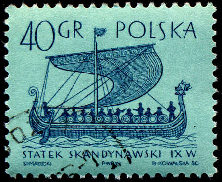 POLAND - CIRCA 1963: stamp printed in Poland shows ancient Scandinavian ship, circa 1963