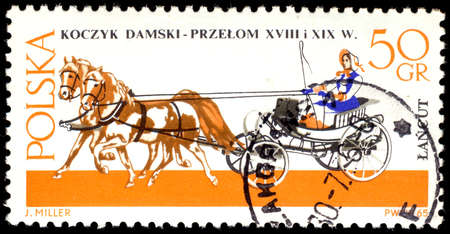 chariot: POLAND - CIRCA 1965: a stamp printed in Poland shows old chariot - chaise (XVIII-XIX century), circa 1965