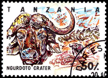 postmarked: TANZANIA - CIRCA 1993: Stamp printed in Tanzania dedicated to Ngurdoto crater, shows buffalo, circa 1993