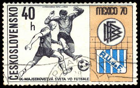 czechoslovakia: Czechoslovakia - CIRCA 1970: A stamp printed in Czechoslovakia shows football, one stamp from series, circa 1970 Editorial