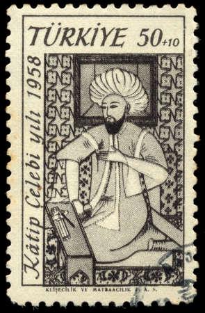 historian: Turkey - CIRCA 1958: stamp printed by Turkey, shows, An Ottoman scholar, Katip Celebi historian and geographer, circa 1958.
