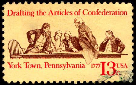 confederation: UNITED STATES OF AMERICA - CIRCA 1977: a stamp printed in the USA shows Members of Continental Congress in Conference, American Bicentennial, circa 1977 Editorial