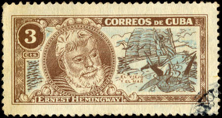 ernest hemingway: CUBA - CIRCA 1963: A stamp printed in Cuba shows image of the Ernest Miller Hemingway (July 21, 1899 - July 2, 1961) was an American author and journalist, circa 1963.