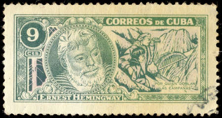 ernest: CUBA - CIRCA 1963: A stamp printed in Cuba shows image of the Ernest Miller Hemingway (July 21, 1899 - July 2, 1961) was an American author and journalist, circa 1963.