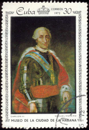 carlos: CUBA - CIRCA 1972: A stamp printed in Cuba shows painting of Miguel Melero - Portrait of Carlos III, stamp from series paintings Museum of city Havana, circa 1972 Editorial