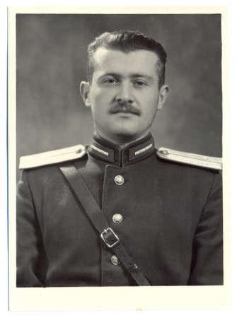 lieutenant: USSR - CIRCA 1951: An antique photo shows portrait of a Soviet Army lieutenant in uniform Editorial