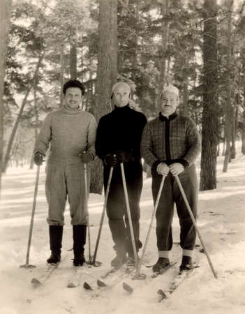 vintage photo: Russia ussr circa 1956 Vintage photo of skiers Editorial
