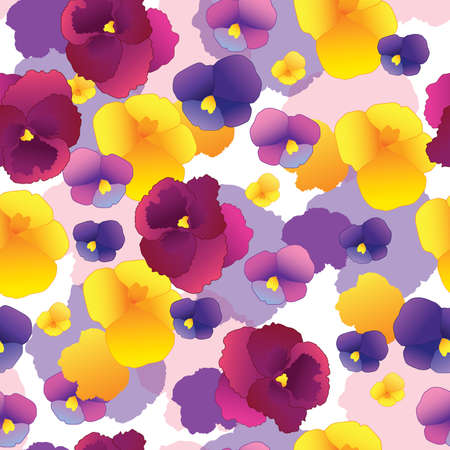 single flower: Seamless pattern with pansy flowers