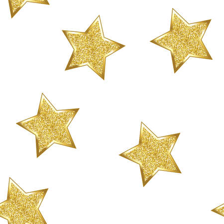 Glitter stars on white background. Seamless. Banque d'images