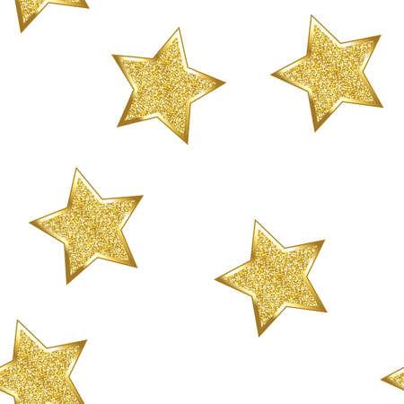 Glitter stars on white background. Seamless. Stock Photo