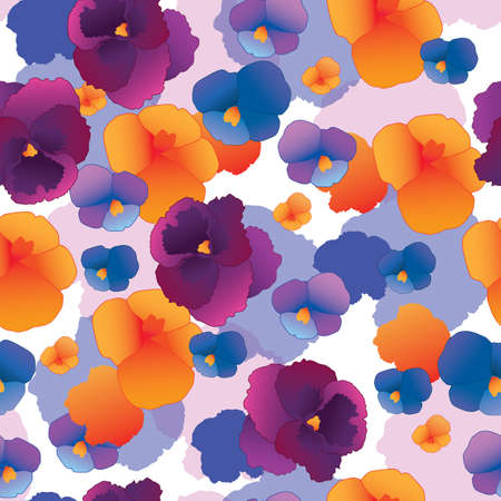 pansy: Seamless pattern with pansy flowers
