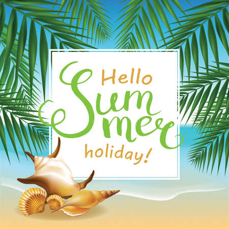 Frame with Calligraphic Word Summer time on summer beach background. illustration.
