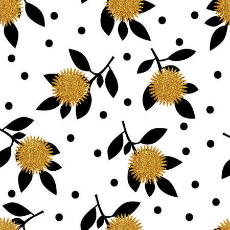 gold leafs: Seamless pattern with gold glitter flowers and leafs on white background. Vector illustration.