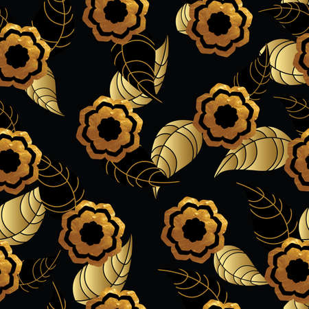gold leafs: Seamless pattern with gold flowers and leafs on black background. Vector illustration.