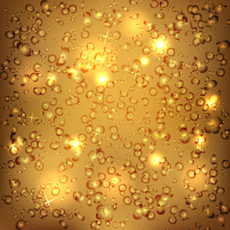 brilliancy: Gold abstract background with blurred lights and splashes. Vector illustration.