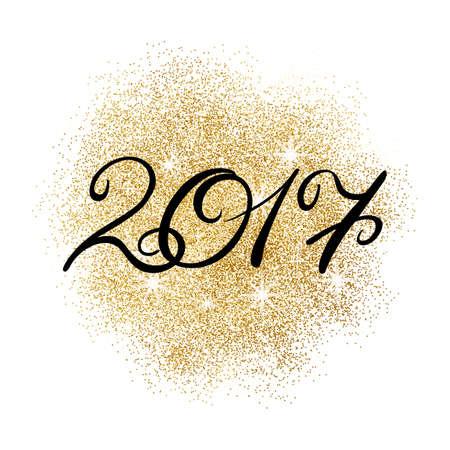 Happy New Year 2017 on gold glitter splash on white background. Vector illustration. Ilustração Vetorial