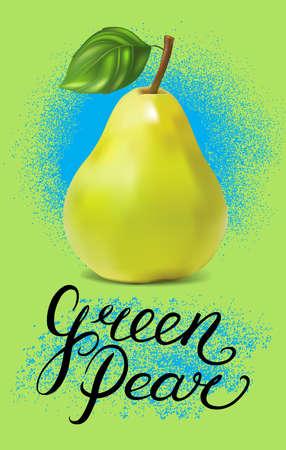 Hand drawn typography poster with pear on violet background. Vector illustration.