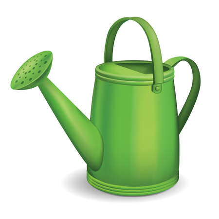 bailer: Green watering can isolated on white background. Vector illustration. Illustration