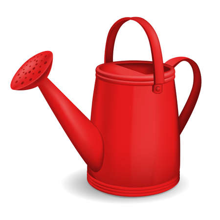Red watering can isolated on white background. Vector illustration.