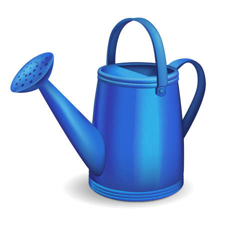 Blue watering can. Isolated on white background. Illustration