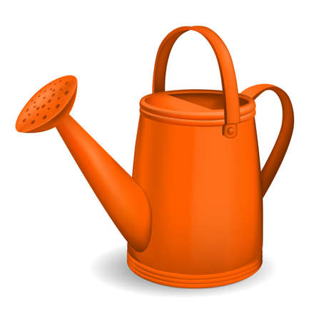 bailer: Orange watering can. Isolated on white background. Vector. Illustration