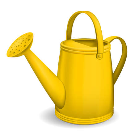Yellow watering can. Isolated on white background. Vector.