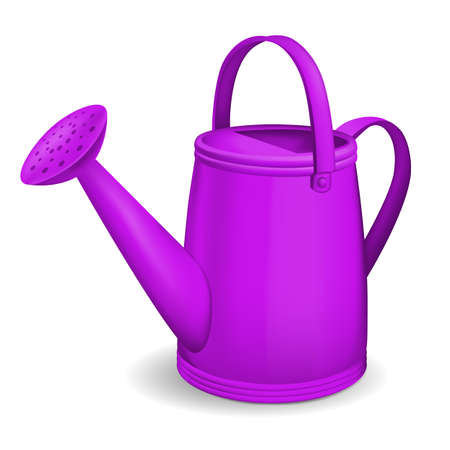 Violet watering can. Vector illustration.