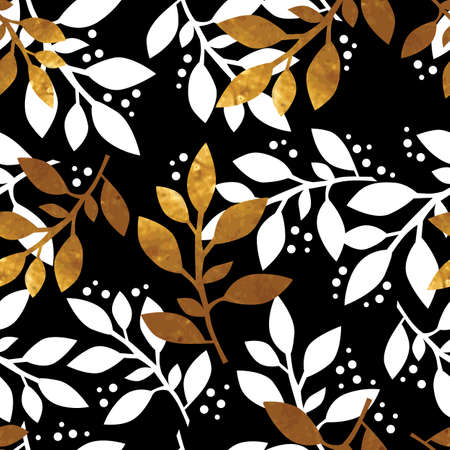 gold leafs: Vintage floral seamless pattern with gold texture leafs on black background. Vector illustration.