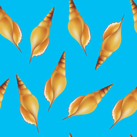 Shells on blue background. Seamless. Vector illustration.