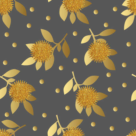 gold leafs: Seamless pattern with gold glitter flowers and leafs on gray background. Vector illustration.