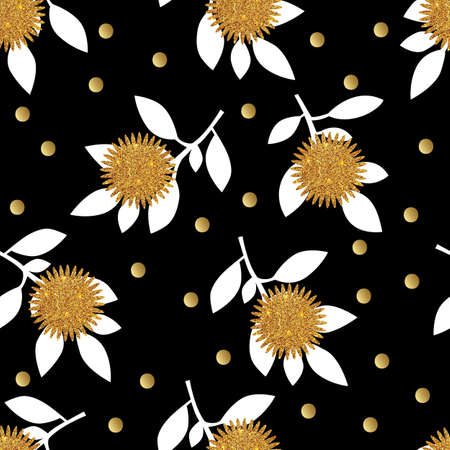gold leafs: Seamless pattern with gold glitter flowers and leafs on black background. Vector illustration. Illustration