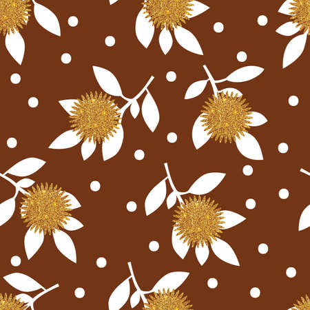 leafs: Seamless pattern with gold glitter texture flowers and leafs on brown background. Vector illustration.